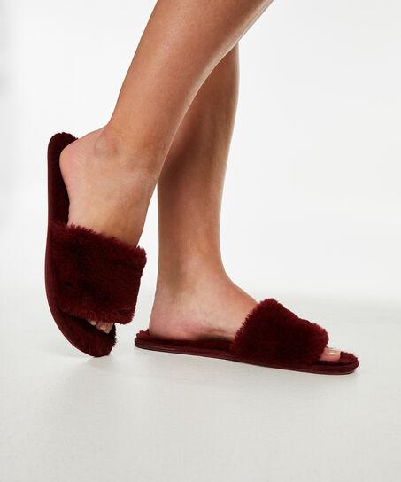 Huisslippers Fur Top, Rood