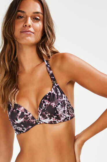 Hunkemöller Push-up bikinitop Animaux Zwart