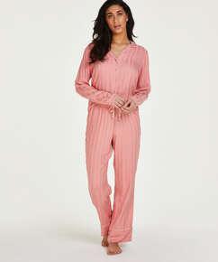 Tall pyjamabroek Jacquard Stripe, Roze