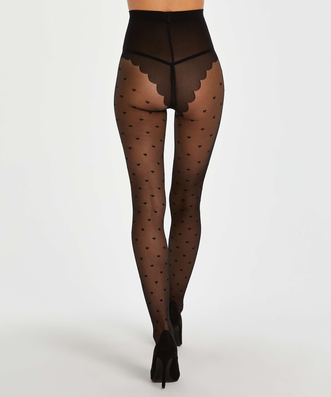 Panty 15 Denier Valentine Hearts, Zwart, main