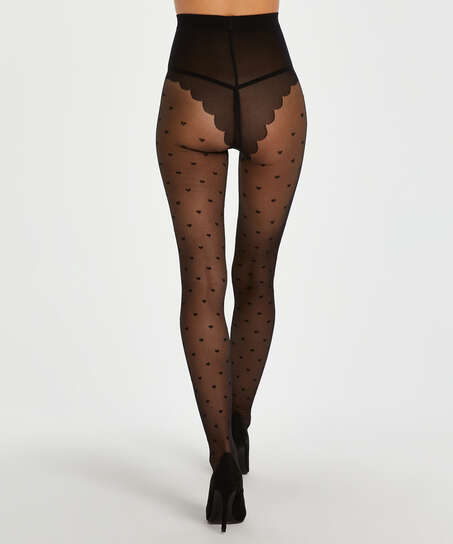 Panty 15 Denier Valentine Hearts, Zwart