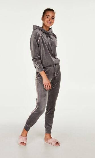 Pyjama top lange mouwen velours, Grijs