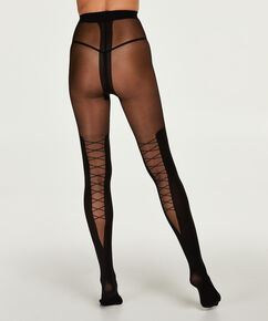 Panty Overknee sock lace up, Zwart