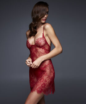 Slipdress Allover Lace, Rood