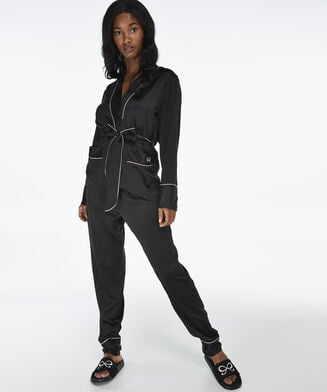 Pyjama jasje Satin, Zwart