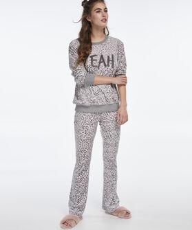Lange mouwen pyjamatop velours, Grijs