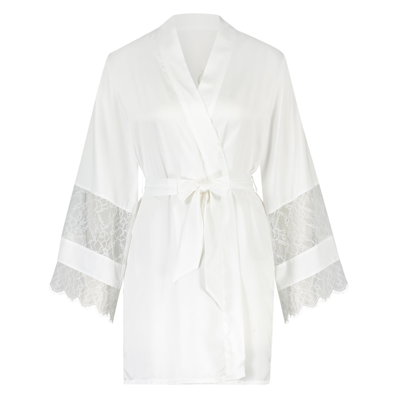 Kimono satijn Bridal, Wit, main