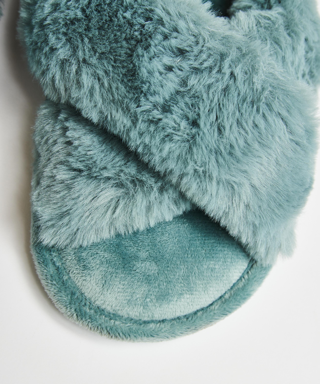 Pantoffels slipper Velour, Groen, main