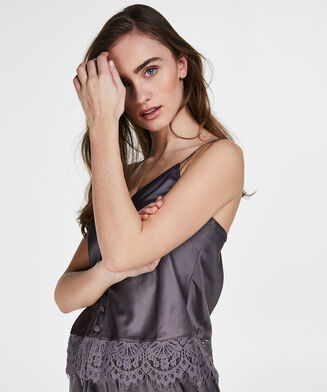 Cami top Satin Button, Grijs