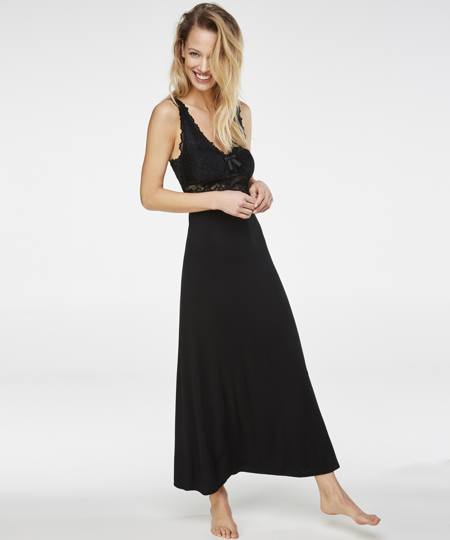 Slipdress Modal lace long, Zwart, main