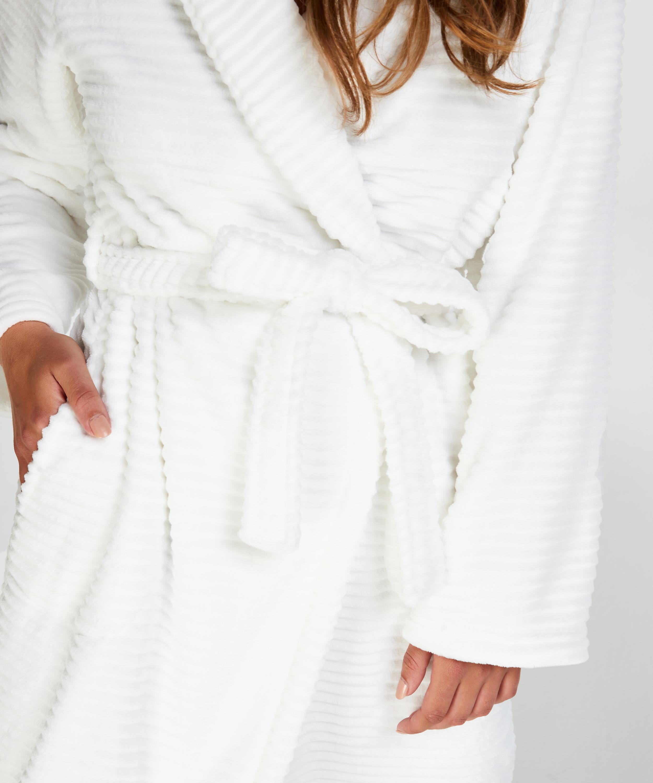 Lange badjas Fleece rib, Wit, main
