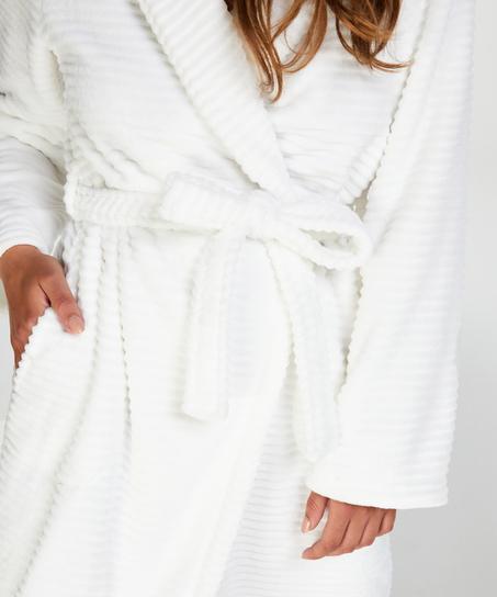 Lange badjas Fleece rib, Wit