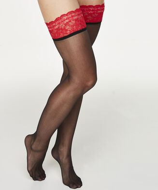 Stay-up 20 Denier Fancy Lace Top Red, Rood