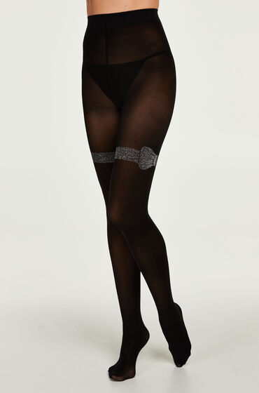 Hunkemöller Panty 50 Denier Lurex Bow Overknee Zwart