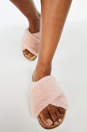 Hunkemöller Huisslipper Fur Cross Roze