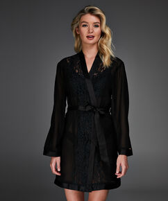 Kimono Mesh lace Kalei, Zwart