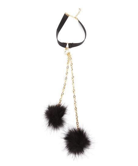 Choker Fake Fur, Zwart