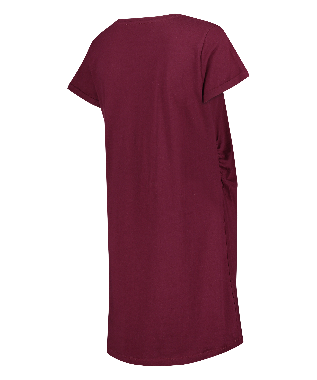 Zwangerschapsnachthemd met korte mouwen, Rood, main