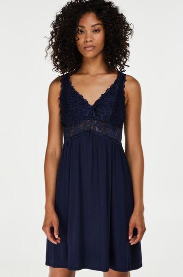 Hunkemoller Slipdress Modal lace Blauw