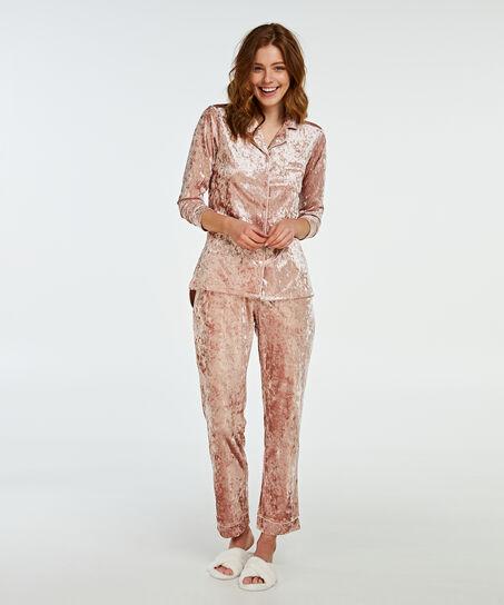 Boyfriend crushed velour pyjama, Roze