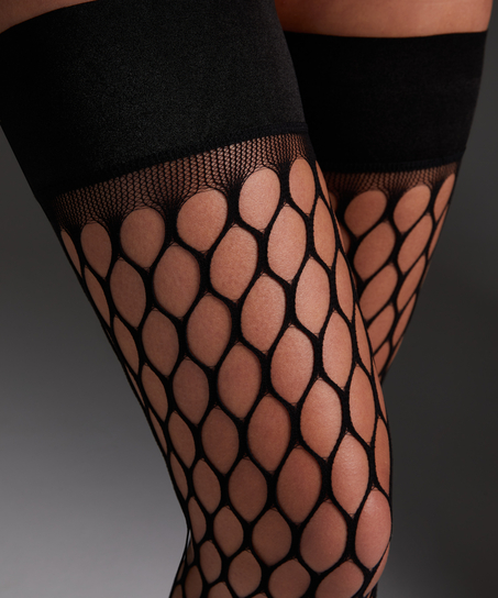 Private Stay-up Fishnet Big Sexy, Zwart