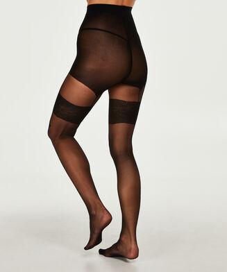 Panty 30 Denier Knit Pattern, Zwart