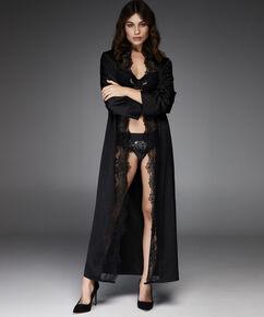 Lange Kimono satin, Zwart