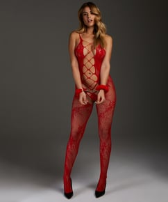 Private open lace Catsuit, Rood