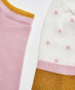 2 paar lurex sokken stippen, Geel