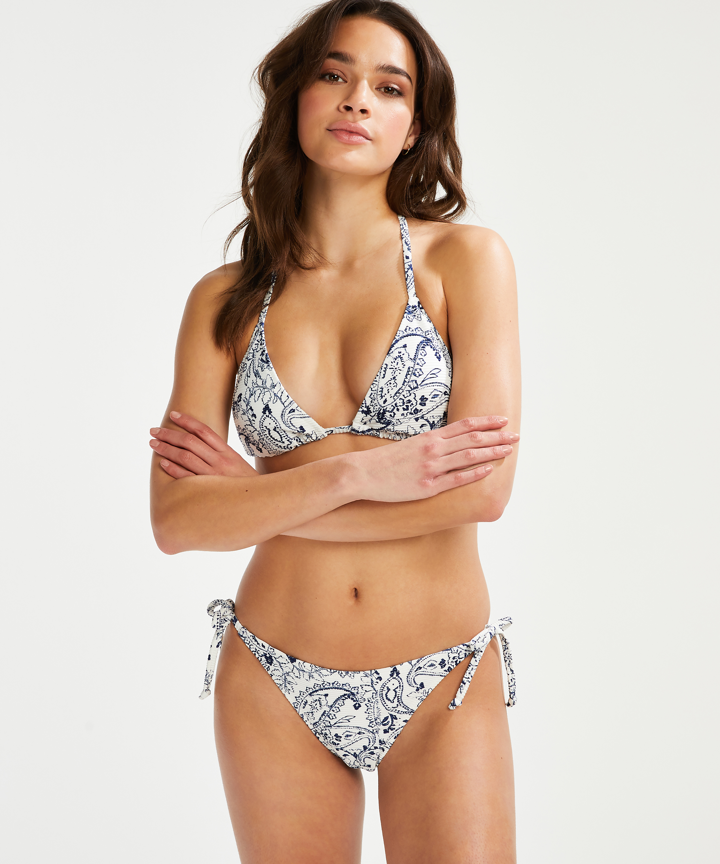 Brazilian tanga bikinibroekje Paisley, Wit, main