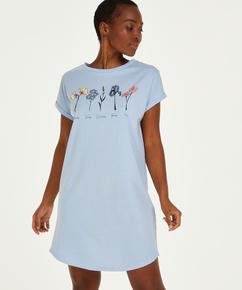 Nachthemd Ronde hals, Blauw