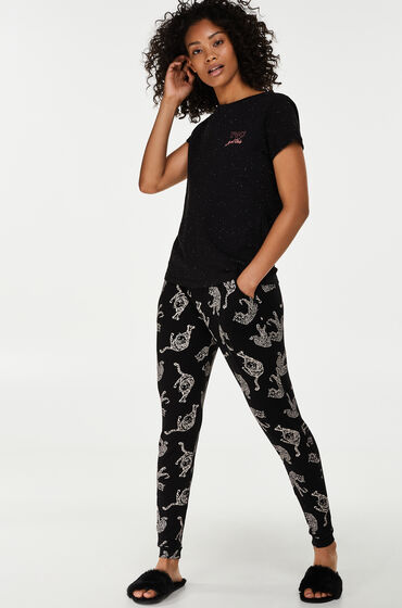 Hunkemöller Pyjamabroek Jersey loose fit Zwart