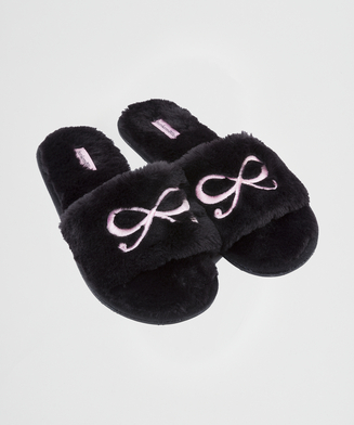 Bow fake fur top slipper, Zwart