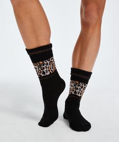 Sokken Luipaard Print, Zwart