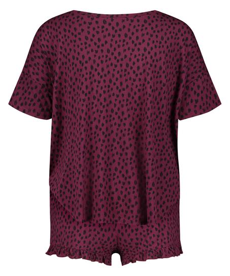 Korte pyjama set, Rood