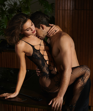 Private open lace Catsuit, Zwart