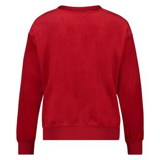 Pyjama top lange mouwen velours, Rood