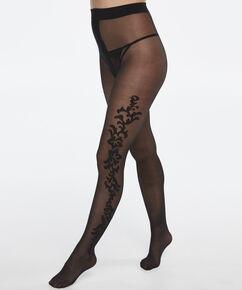 Panty 30 Denier Side decoration, Zwart