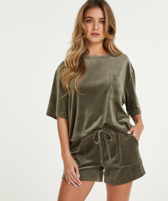 Shorts Velours Pocket, Groen, main