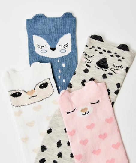 4 paar sokken Bunny, Wit
