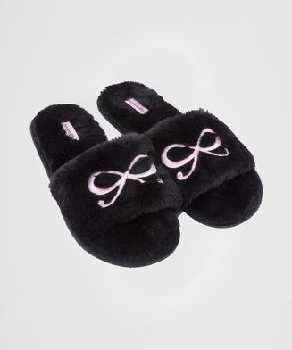 Bow fake fur top slipper, Zwart