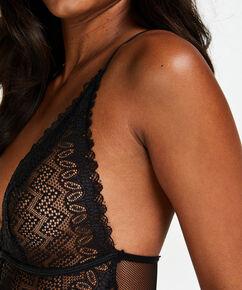 Lace Strappy Body, Zwart