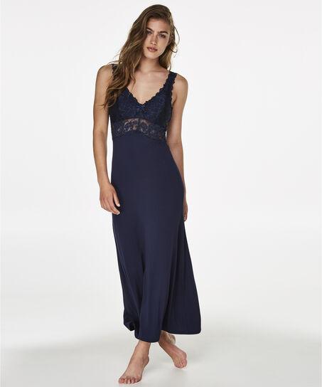 Lange slip dress Modal Lace, Blauw