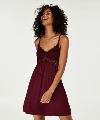 Slipdress Jersey lace, Rood