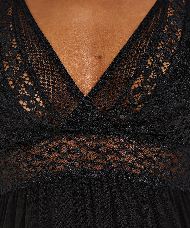 Slipdress Jersey Grafic Lace, Zwart, main