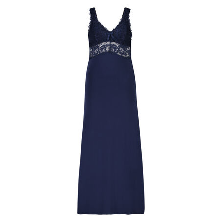 Slipdress Modal lace long, Blauw