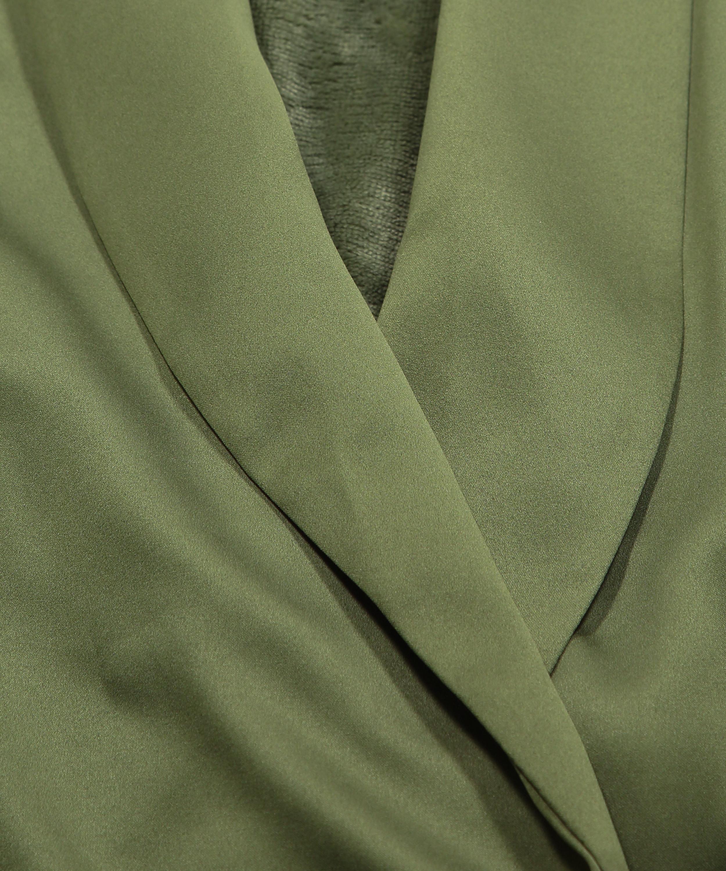 Badjas Satin Fleece, Groen, main