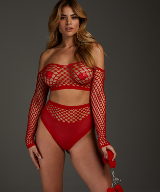 Private Fishnet Set, Rood