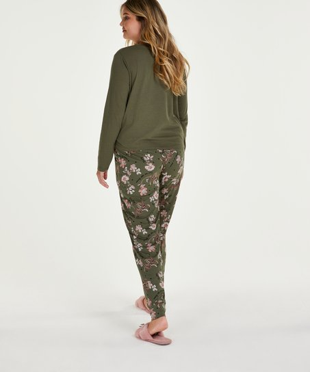 Pyjamatop lange mouwen Jersey Knot, Groen
