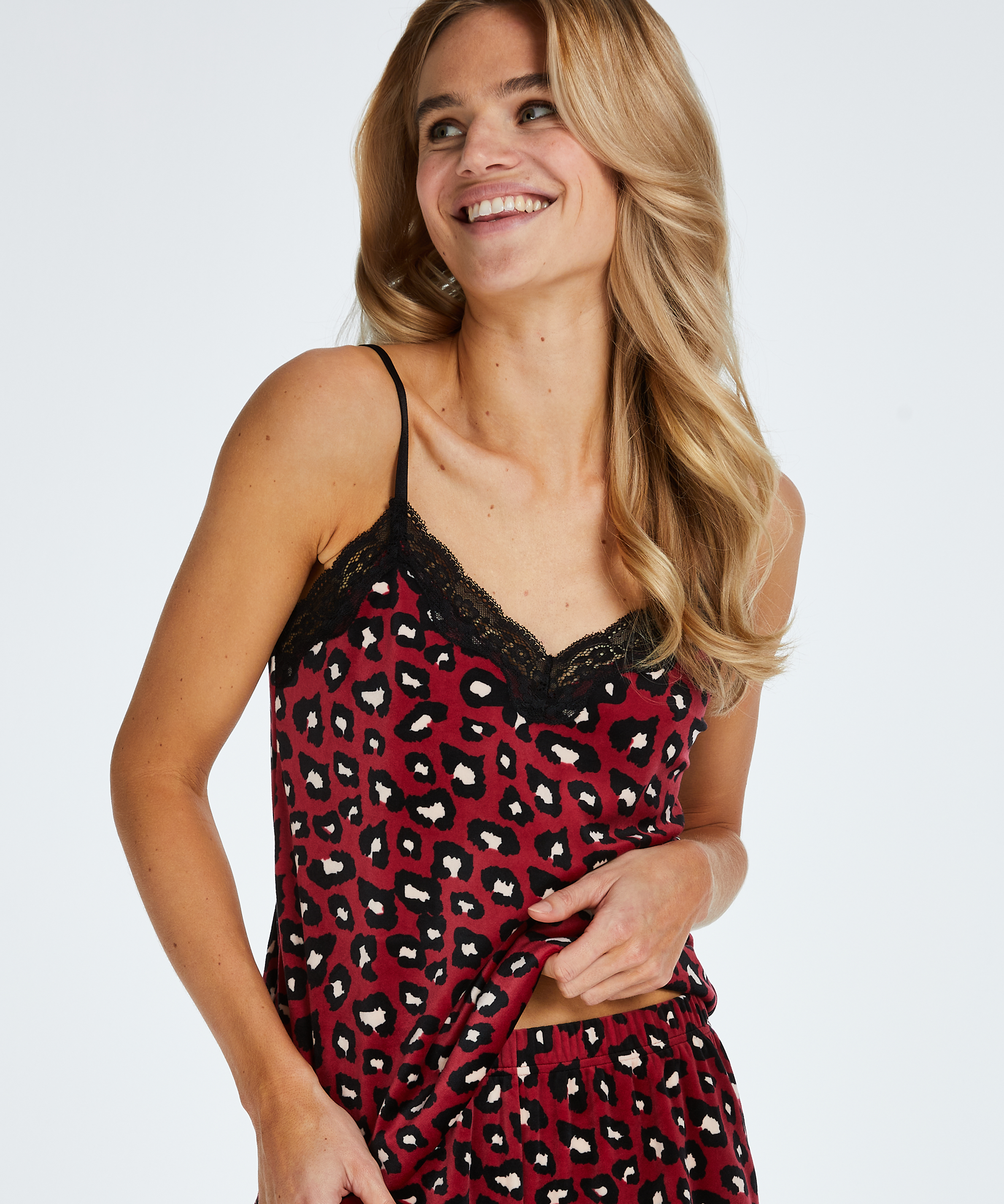 Cami Velours Lace, Rood, main